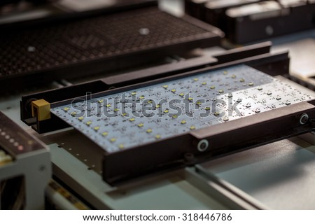 LED light production. Image of circuit board