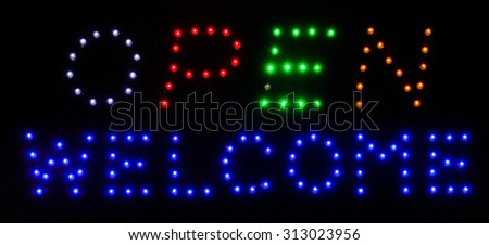 LED Open  Welcome  Sign - stock photo
