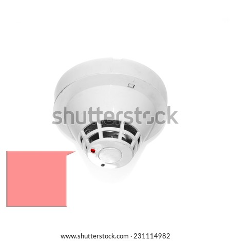 Led red show Smoke detector mounted on ceiling and text. - stock photo