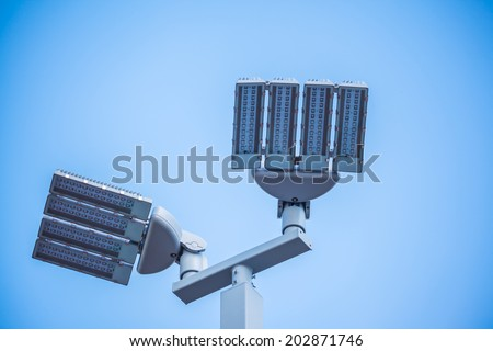 LED street lamps post - stock photo