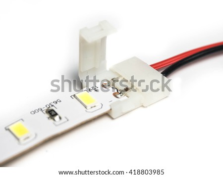 Led strip lights connectors on isolated stock photo royalty free led strip lights connectors on isolated white background aloadofball Choice Image