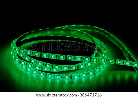 led strip lights, green color - stock photo