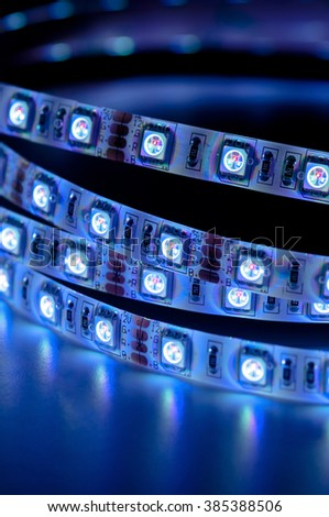 led strip rgb lights, blue color - stock photo