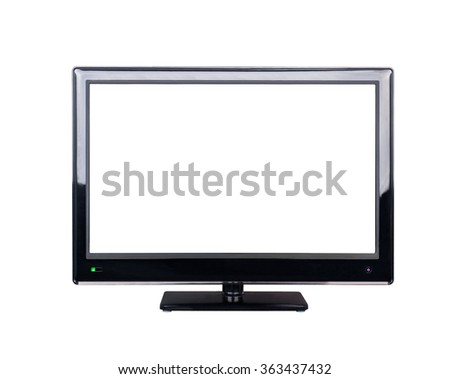 LED television for high definition display isolated on white background
