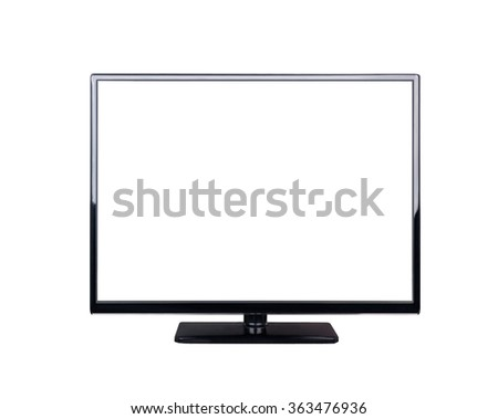 LED television for high definition display isolated on white background - stock photo
