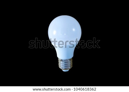 LED white light bulb  on the black background. With clipping path.