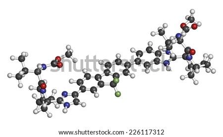 Ledipasvir hepatitis C virus (HCV) drug molecule. Atoms are represented as spheres with conventional color coding: hydrogen (white), carbon (grey), oxygen (red), nitrogen (blue), etc - stock photo
