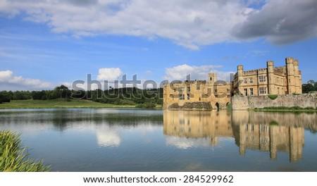 Leeds Castle and lake, landmark near London, UK - stock photo