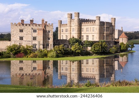 Leeds Castle Fortress England Moat Reflection - stock photo
