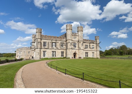 Leeds castle situated in the Kent region of England.  - stock photo