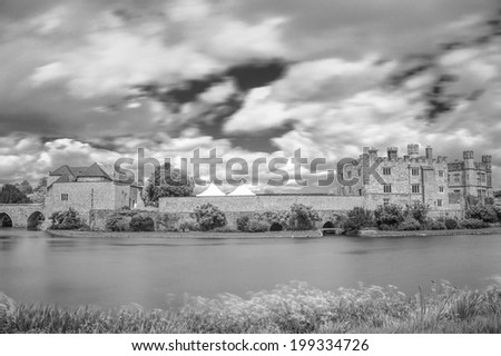 Leeds castle situated in the Kent region of England (black and white) - stock photo