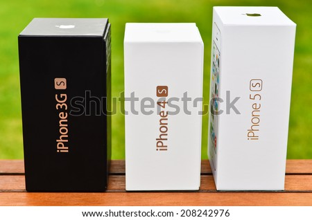 LEEDS - JULY 31: Apple iPhone boxes in a row. July 31, 2014 in Leeds, UK - stock photo