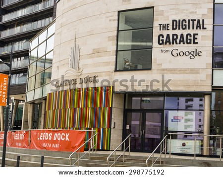 LEEDS - 12 JULY.  Image of Google's first Google Digital Garage to open in the UK.  This temporary office aims to teach businesses how to make the most of Google Services.  Taken 12 July 2015