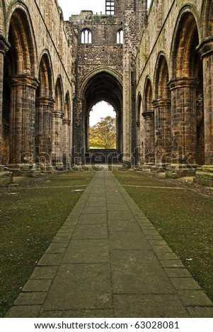 Leeds Kirkstall Abbey - stock photo