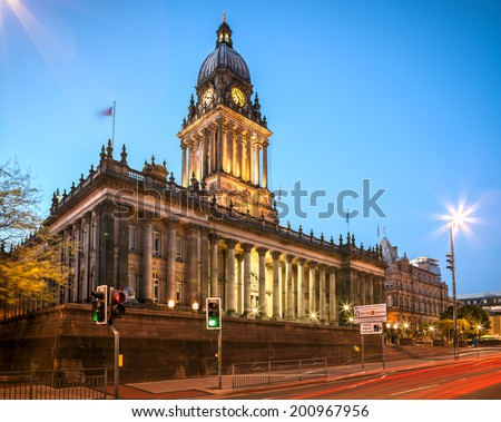 Leeds Town Hall in the city centre of Leeds England representing a Gothic style architecture.