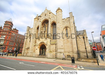 LEEDS, UK - APRIL 5 2016: Leeds Cathedral is one of the finest Catholic Cathedral's in England, known as Saint Anne's Cathedral is situated in the heart of the Leeds city centre - stock photo