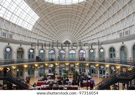 LEEDS, UK – FEBRUARY 26: Leeds Corn Exchange. One of only three remaining Corn Exchange buildings in the UK, February 26, 2012.