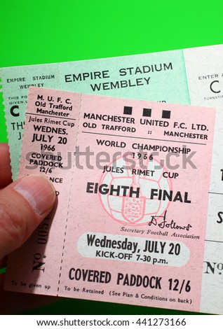 Leeds UK June 4 2014 Tickets for the 1966 world cup - Illustrative Editorial