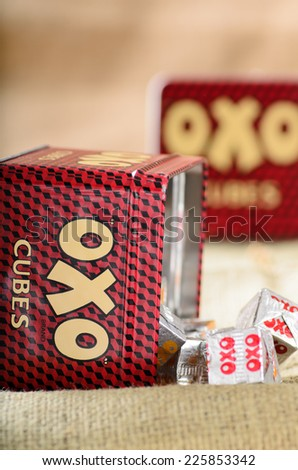 LEEDS, UK - OCTOBER 25, 2014: A retro oxo gravy tin, oxo is one of the most popular brands of gravy in the UK. - stock photo