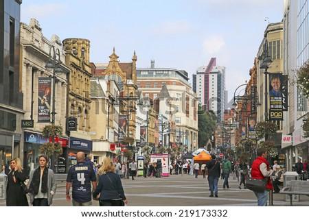 LEEDS, UK - SEPTEMBER 21, 2014: Bridgate. The Leeds City Region is the UK's largest economy and population centre outside London, generating 4% of national economic output - stock photo
