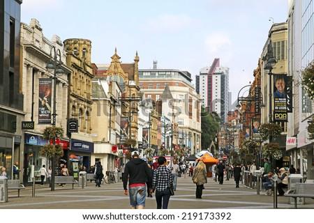 LEEDS, UK - SEPTEMBER 21, 2014: Bridgate. The Leeds City Region is the UKâ??s largest economy and population centre outside London, generating 4% of national economic output - stock photo