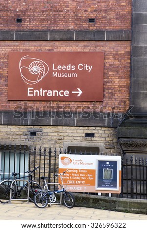 LEEDS, UK - 30 SEPTEMBER 2015.  Leeds City Museum.  Sign on the outside of the Leeds City Museum - stock photo