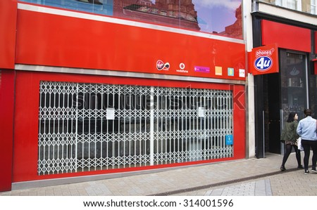 LEEDS, UK - 7 SEPTEMBER 2015.  Phones 4U Store.  The former phones 4u mobile telephone retailer shop in Leeds.  The once successful retail chain was eventually placed into administration. - stock photo