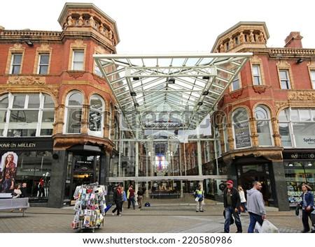 LEEDS, UK - SEPTEMBER 21, 2014: Victoria Quarter. The Leeds City Region is the UK's largest economy and population centre outside London, generating 4% of national economic output - stock photo