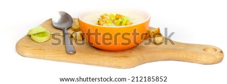 Leek and Potato soup with croutons. Selective focus. Panoramic image. - stock photo