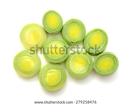 leek leaf cut slices on white background  - stock photo