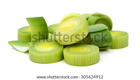 leek sliced on white background  - stock photo