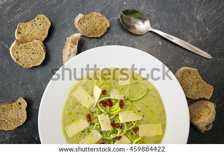 Leek soup with cheese and bread - stock photo