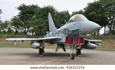 Leeuwarden the Netherlands - June 11 2016: A German EuroFighter is displayed at the static show during the Open Days at air force base Leeuwarden - stock photo