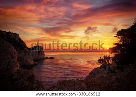Lefkada island lighthouse Greece - stock photo