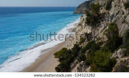 Lefkada island, view to best beach Egremnoi on a windy day, Ionian, Greece