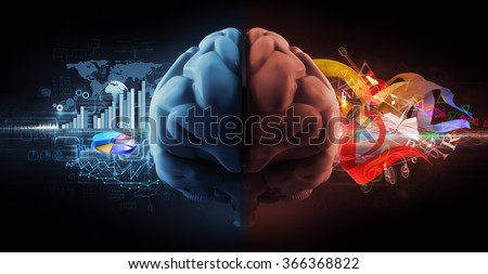 left and right brain functions - stock photo