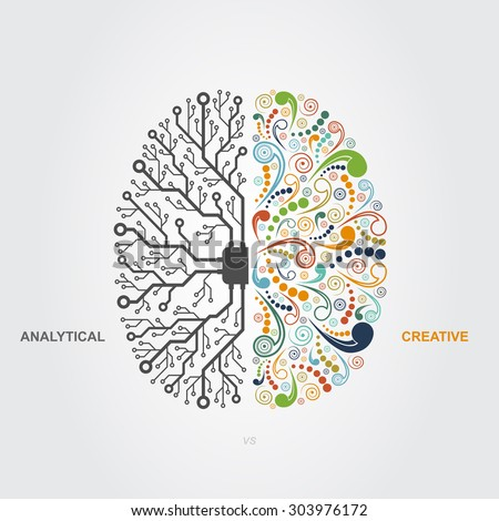 left and right brain functions concept, analytical vs creativity - stock photo