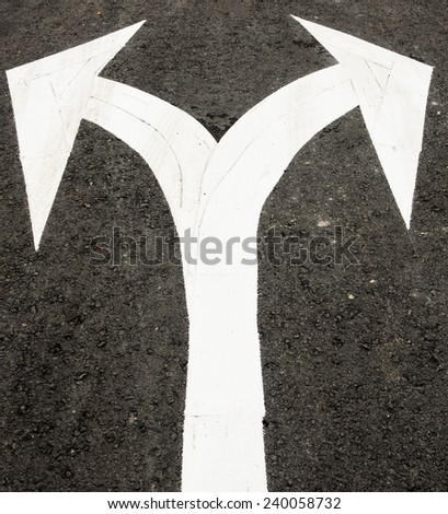 Left and right of the symbol - stock photo