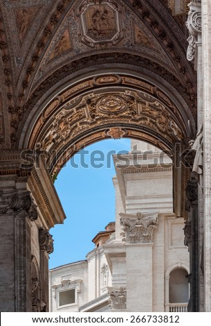 Left Arch of the Portico of St Peter's Basilica (Basilica Papale di San Pietro in Vaticano), Vatican City, Rome, Italy - stock photo