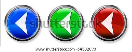 Left Arrow 3-D RGB Buttons - stock photo