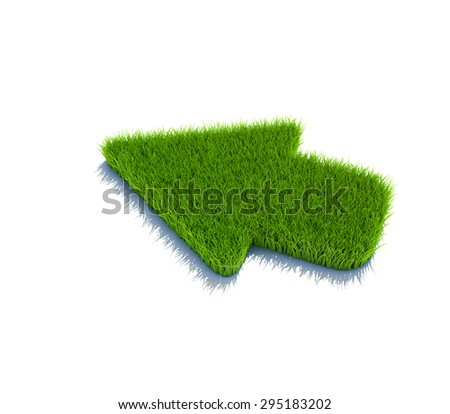 Left arrow symbol from grass. 3d render isolated on white. - stock photo