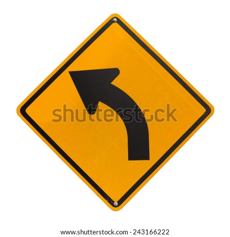 Left curve traffic sign isolated on white background - stock photo