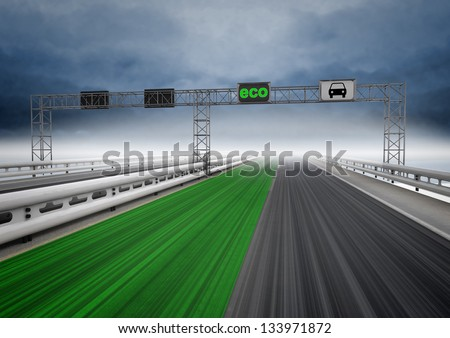 left green eco faster track on highway illustration - stock photo