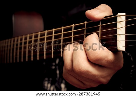 Left Hand Musician Playing D Chord Stock Photo (Royalty Free ...