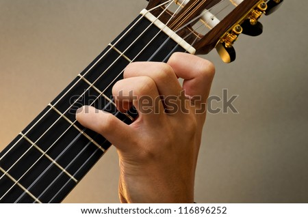 Left Hand Position Basic Chord of Classic Guitar / A+ Chord - stock photo