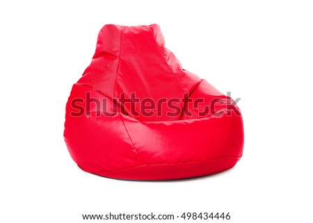 Left Side View Of Nice New And Soft Red Beanbag Isolated On White Background