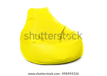 Left side view of nice new and soft yellow beanbag isolated on white background