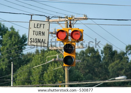 Left Turn Signal - Red - stock photo
