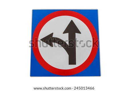 Left turn split traffic sign isolated on white background - stock photo