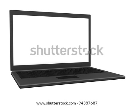 Left view of an isolated modern lightweight laptop with a blank screen. (3D illustration)